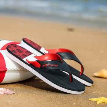 New Men Pure Color Plane Flat Beach Casual Slippers - RED 44