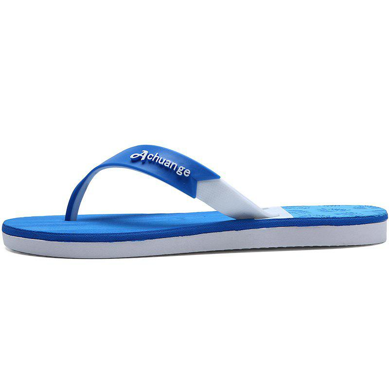 New Men Pure Color Plane Flat Beach Casual Slippers - DAY SKY BLUE 43