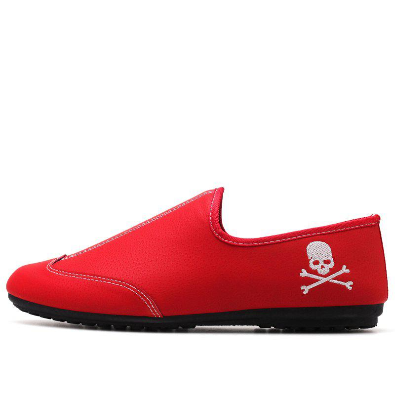 New Men Solid Color Fashion Peas Shoes - CHILLI PEPPER 44