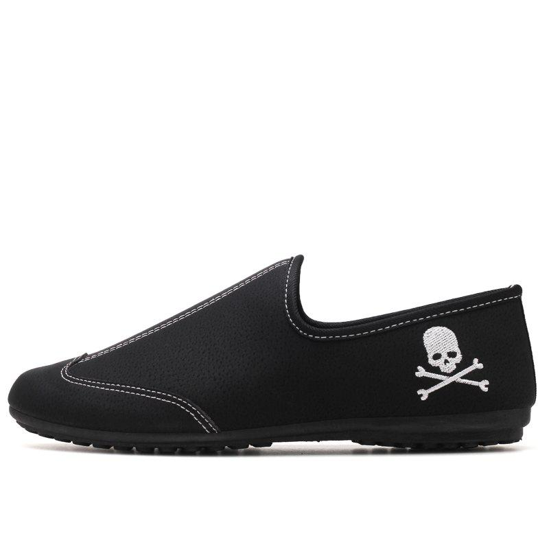 New Men Solid Color Fashion Peas Shoes - BLACK 44
