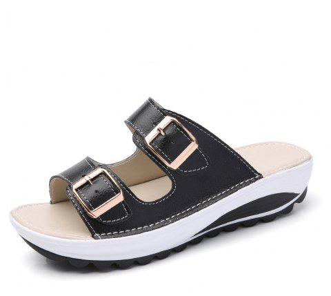 New Ladies Fashionable Leather Slippers - BLACK 38
