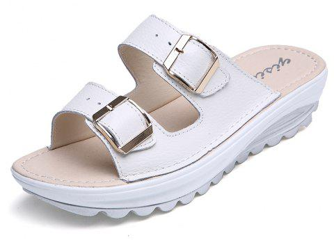 New Ladies Fashionable Leather Slippers - MILK WHITE 37