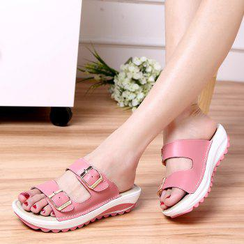 New Ladies Fashionable Leather Slippers - PINK SIZE(36-37)