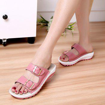 New Ladies Fashionable Leather Slippers - PINK 38