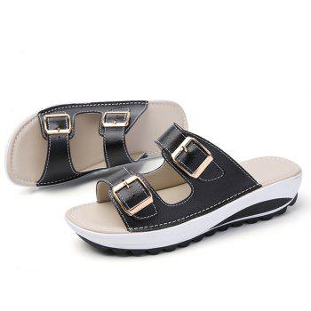 New Ladies Fashionable Leather Slippers - BLACK SIZE(36-37)