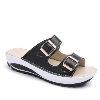 New Ladies Fashionable Leather Slippers - BLACK 37