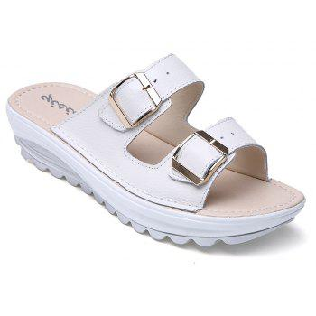 New Ladies Fashionable Leather Slippers - MILK WHITE 35