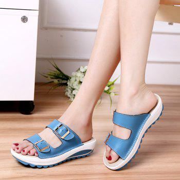 New Ladies Fashionable Leather Slippers - SKY BLUE SIZE(36-37)