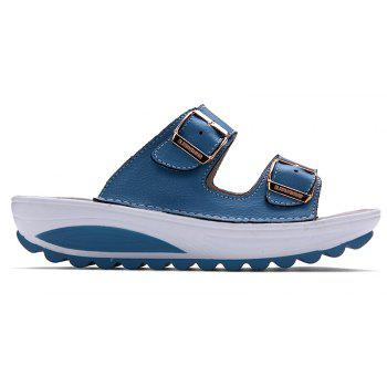 New Ladies Fashionable Leather Slippers - SKY BLUE 37