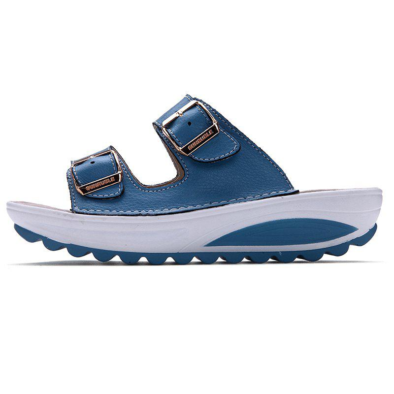 New Ladies Fashionable Leather Slippers - SKY BLUE 40