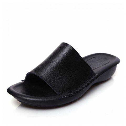 New Lady Real Leather Flip-Flops - BLACK 39