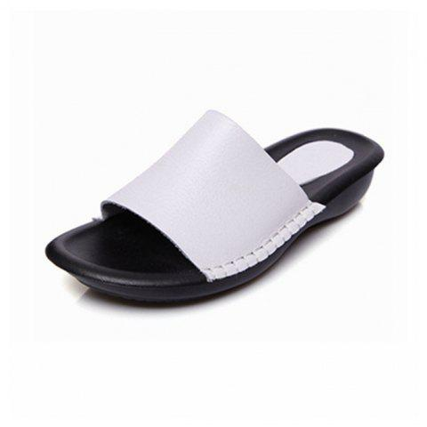 New Lady Real Leather Flip-Flops - WHITE SIZE(36-37)