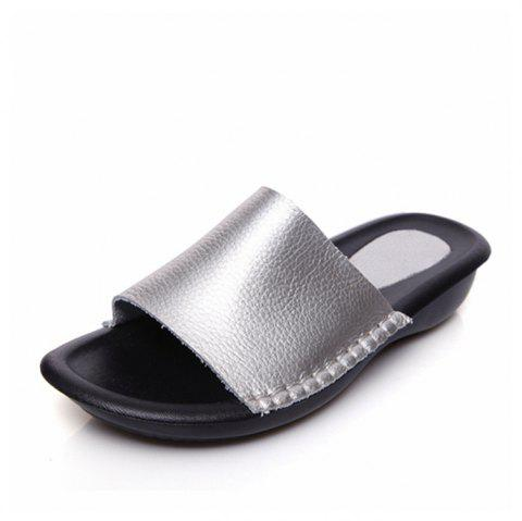 New Lady Real Leather Flip-Flops - PLATINUM SIZE(36-37)