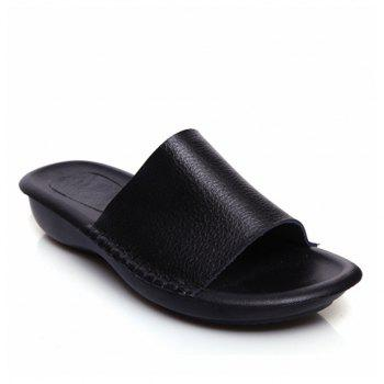 New Lady Real Leather Flip-Flops - BLACK 40