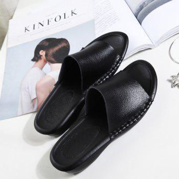 New Lady Real Leather Flip-Flops - BLACK 38