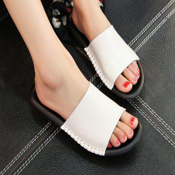 New Lady Real Leather Flip-Flops - WHITE 35
