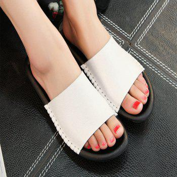 New Lady Real Leather Flip-Flops - WHITE 40