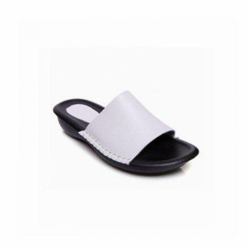 New Lady Real Leather Flip-Flops - WHITE 37