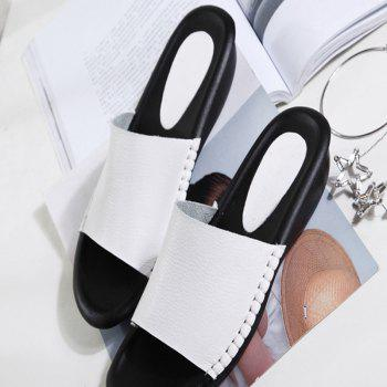 New Lady Real Leather Flip-Flops - WHITE 41