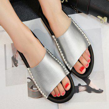 New Lady Real Leather Flip-Flops - PLATINUM 35