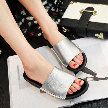 New Lady Real Leather Flip-Flops - PLATINUM 37