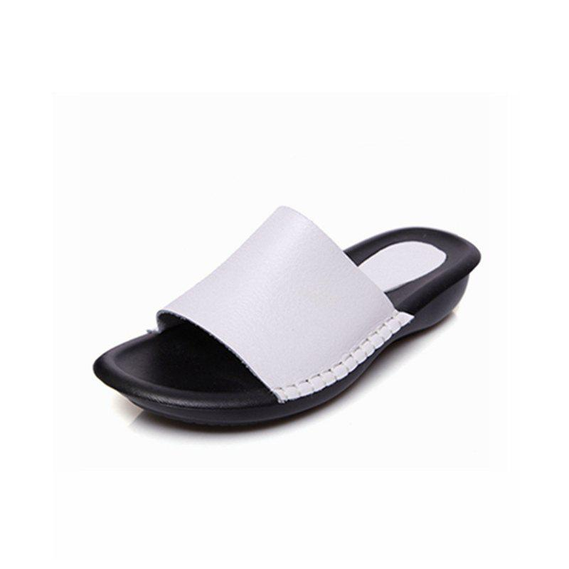 New Lady Real Leather Flip-Flops - WHITE 39
