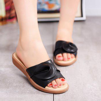 New Women Solid Color Comfortable Casual Sandals - BLACK 37