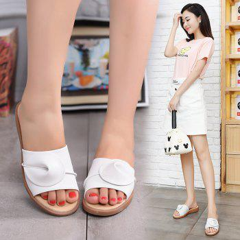 New Women Solid Color Comfortable Casual Sandals - WHITE 37