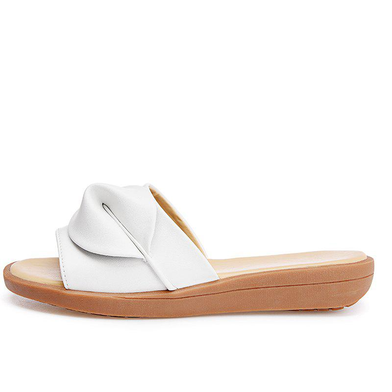 New Women Solid Color Comfortable Casual Sandals - WHITE 38
