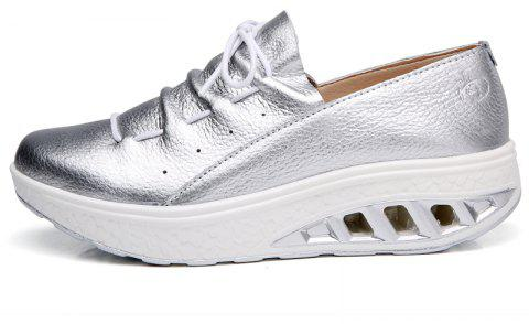 New Women Lightweight Breathable Simple Fashion White Shoes - SILVER 36
