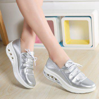 New Women Lightweight Breathable Simple Fashion White Shoes - SILVER 40