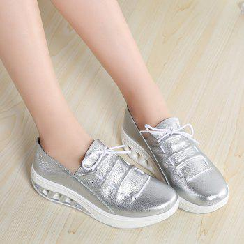 New Women Lightweight Breathable Simple Fashion White Shoes - SILVER 42