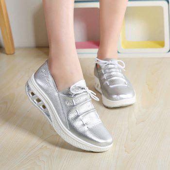 New Women Lightweight Breathable Simple Fashion White Shoes - SILVER 37