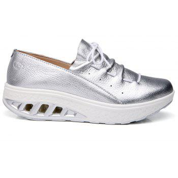 New Women Lightweight Breathable Simple Fashion White Shoes - SILVER 38