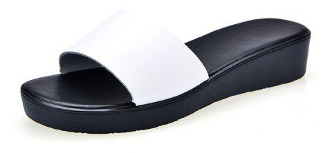 New Ladies Solid Color Platform Comfort Fashion Slippers - WHITE 36