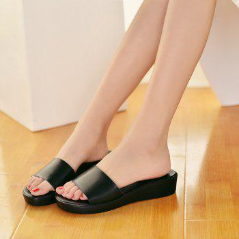 New Ladies Solid Color Platform Comfort Fashion Slippers - BLACK 40