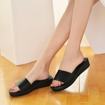New Ladies Solid Color Platform Comfort Fashion Slippers - BLACK 35