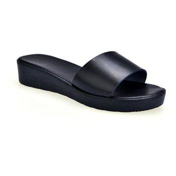 New Ladies Solid Color Platform Comfort Fashion Slippers - BLACK 39