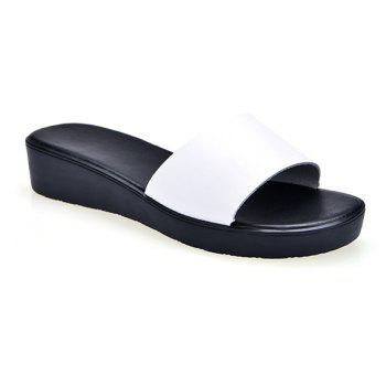 New Ladies Solid Color Platform Comfort Fashion Slippers - WHITE 37