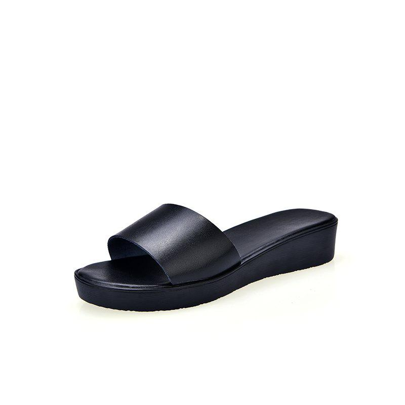 New Ladies Solid Color Platform Comfort Fashion Slippers - BLACK 36