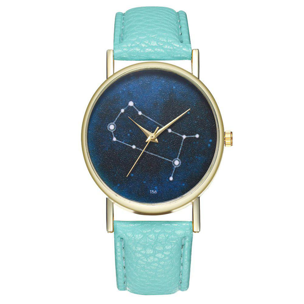 Zhou Lianfa Brand Gemini Leather Watch - MINT GREEN