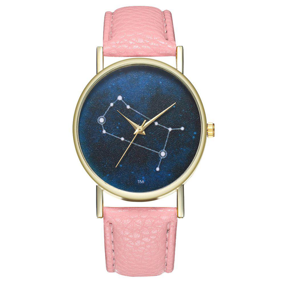 Zhou Lianfa Brand Gemini Leather Watch - PINK
