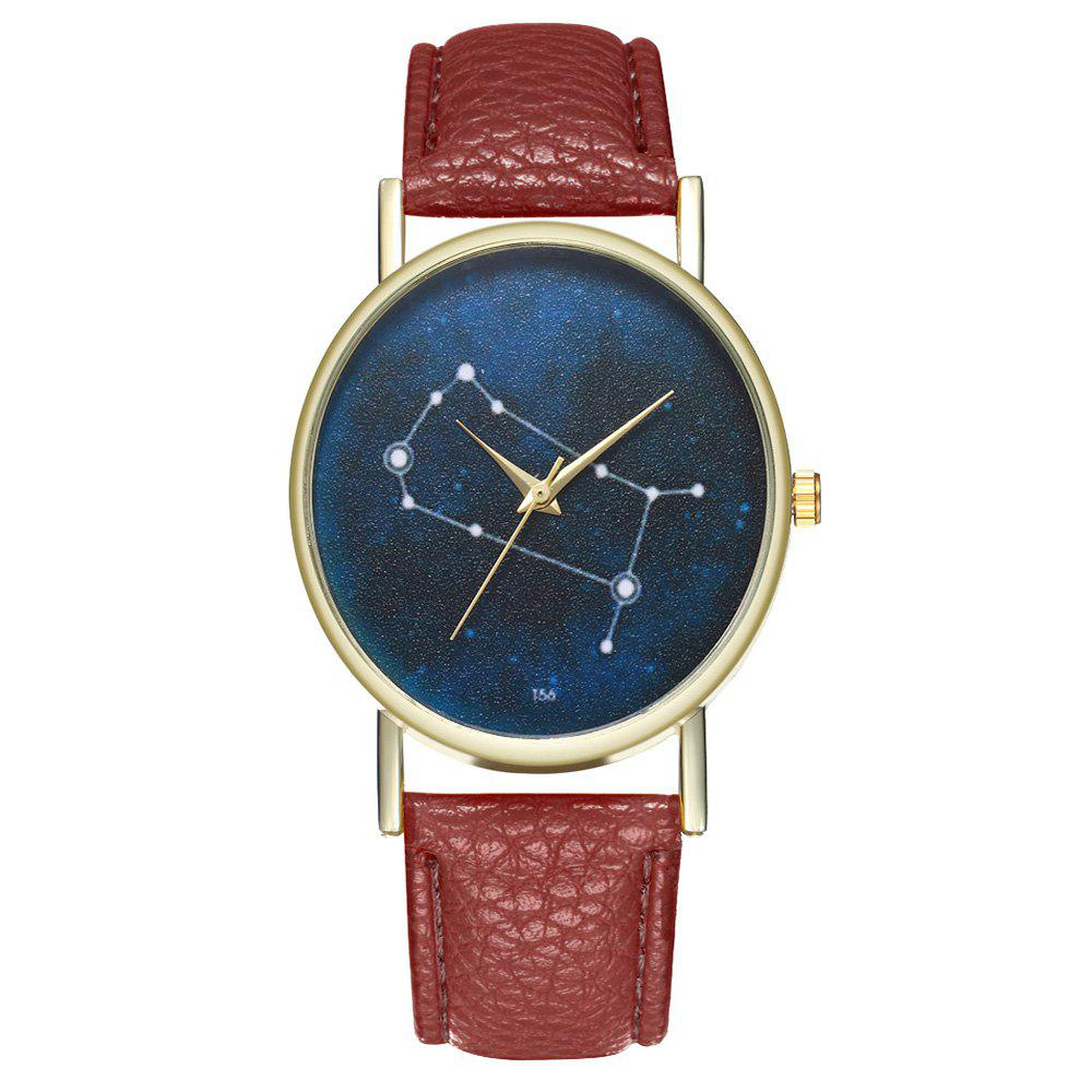 Zhou Lianfa Brand Gemini Leather Watch - COFFEE