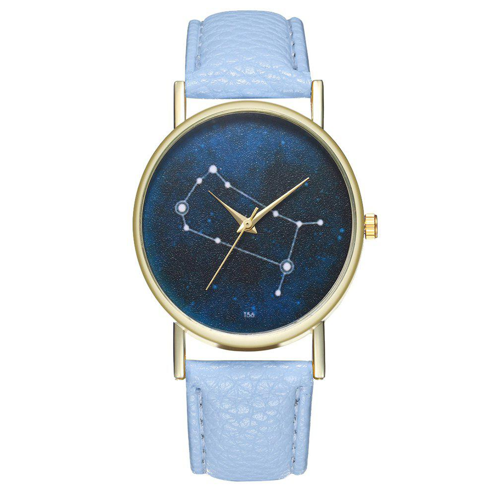 Zhou Lianfa Brand Gemini Leather Watch - LIGHT BLUE