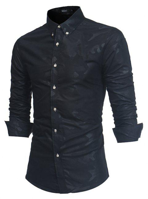 Spring New Men's Fashion Camouflage Dark Long-Sleeved Slim Shirt - BLACK 3XL
