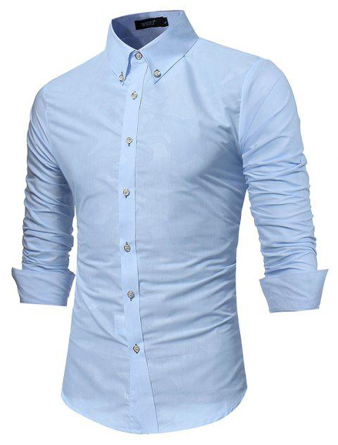 Spring New Men's Fashion Camouflage Dark Long-Sleeved Slim Shirt - DAY SKY BLUE M