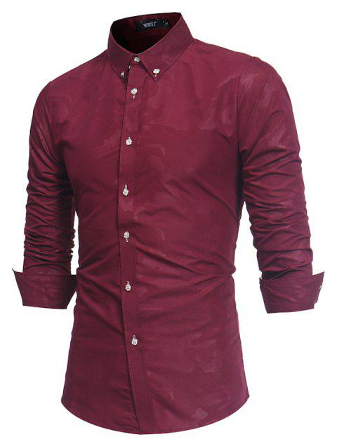 Spring New Men's Fashion Camouflage Dark Long-Sleeved Slim Shirt - RED WINE 3XL