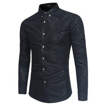 Spring New Men's Fashion Camouflage Dark Long-Sleeved Slim Shirt - BLACK L