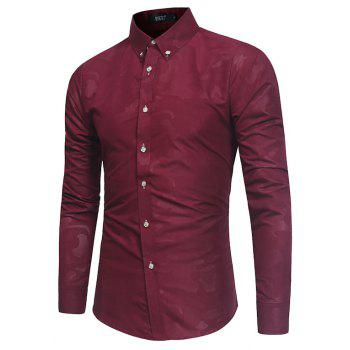 Spring New Men's Fashion Camouflage Dark Long-Sleeved Slim Shirt - RED WINE XL
