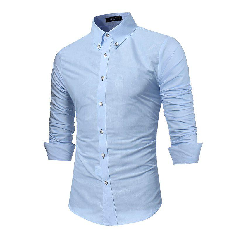 Spring New Men's Fashion Camouflage Dark Long-Sleeved Slim Shirt - DAY SKY BLUE 3XL